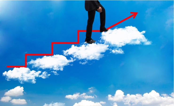 man climbing the stairs on the cloud